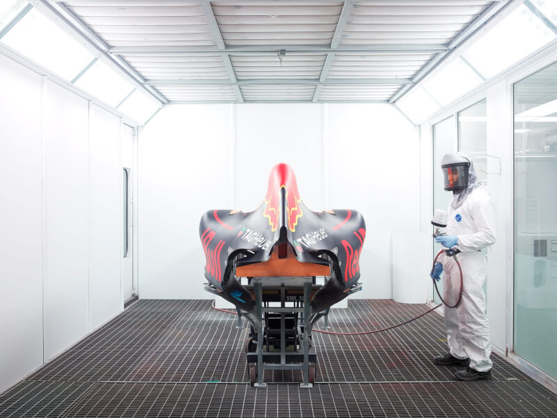 red bull racing factory f1 car spray booth inside